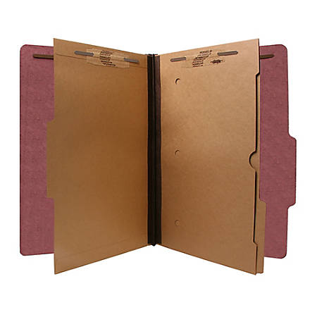 SJ Paper 2-Divider Classification Folders, Legal Size, 60% Recycled, Red, Box Of 15