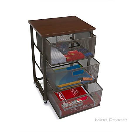"Mind Reader 3-Tier Metal Mesh Drawer Mobile Cart, 21""H x 15""W x 12 1/4""D, Black"