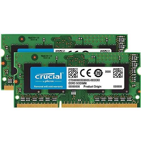 Crucial 16GB (2 x 8 GB) DDR3L SDRAM Memory Module - For Desktop PC - 16 GB (2 x 8 GB) - DDR3L-1866/PC3-14900 DDR3L SDRAM - CL13 - 1.35 V - Non-ECC - Unbuffered - 204-pin - SoDIMM