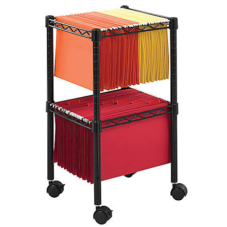 """Safco® Mobile Wire 2-Tier Compact File Cart, 27 1/2""""H x 15 1/2""""W x 14""""D, Black"""