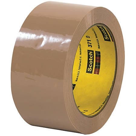 "3M™ 371 Carton Sealing Tape, 3"" Core, 2"" x 110 Yd., Tan, Case Of 6"