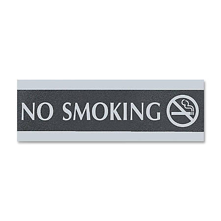 "U.S. Stamp & Sign Century Series No Smoking Sign - 1 Each - No Smoking Print/Message - 9"" Width x 3"" Height - Silver Print/Message Color - Mounting Hardware - Black, Silver"