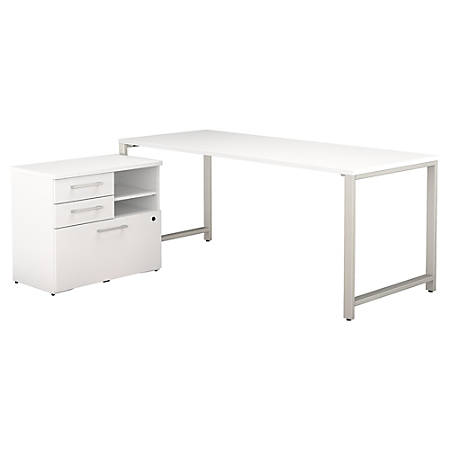 "Bush Business Furniture 400 Series Table Desk with Storage, 72""W x 30""D, White, Premium Installation"