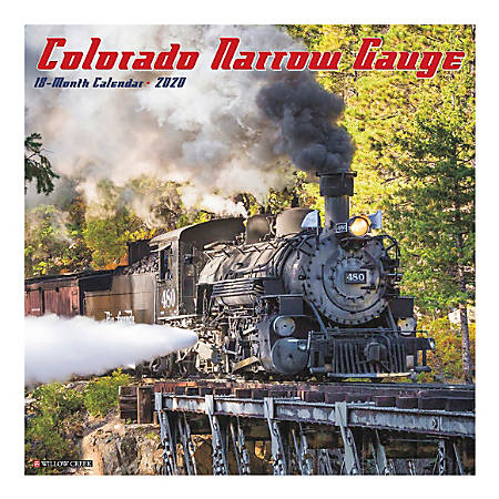 "Willow Creek Press Hobbies Monthly Wall Calendar, 12"" x 12"", Colorado Narrow Gauge Railroads, January To December 2020"