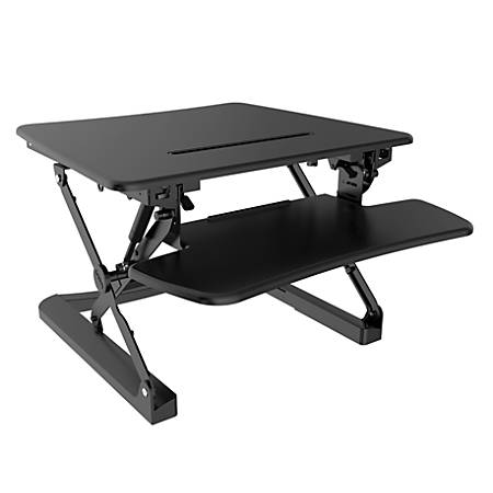 "FlexiSpot Height-Adjustable Standing Desk Riser With Removable Keyboard Tray, 27"" W, Black"