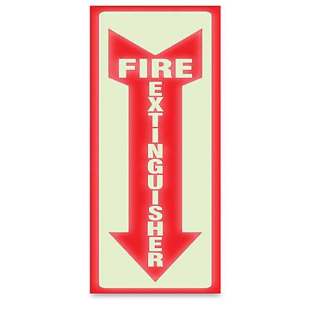 "U.S. Stamp & Sign Glow-In-The-Dark Sign, ""Fire Extinguisher"", 13""H x 4""W"