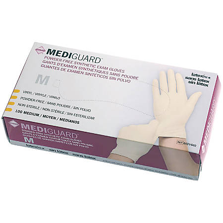MediGuard® Powder-Free Stretch Vinyl Exam Gloves, Medium, Beige, 100 Gloves Per Box, Case Of 10 Boxes
