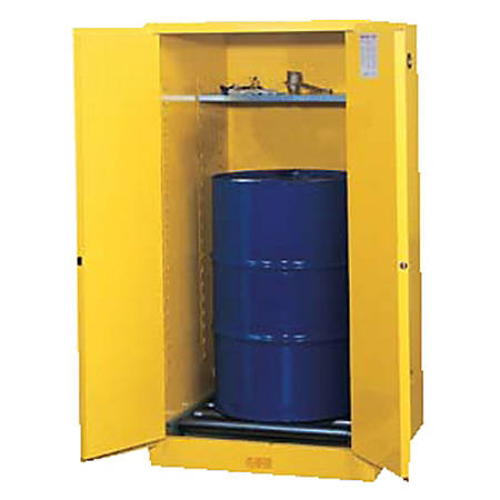 Vertical Drum Safety Cabinets, Manual-Closing Cabinet, 1 55-Gallon Drum, 2 Doors
