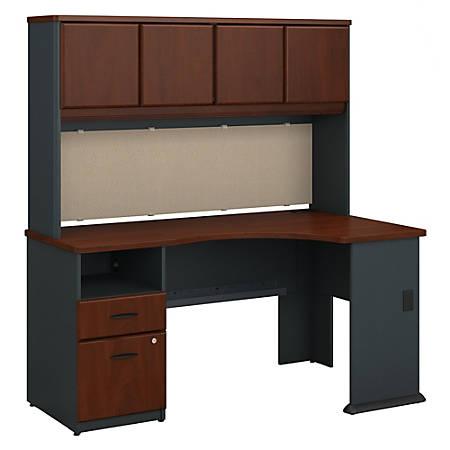 """Bush Business Furniture Office Advantage 60""""W Corner Desk With Hutch And 2 Drawer Pedestal, Hansen Cherry, Premium Installation"""