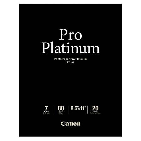 "Canon® Photo Paper Pro Platinum, Letter Size (8 1/2"" x 11""), 80 Lb, Pack Of 20 Sheets"