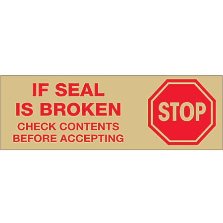 "Tape Logic® Stop If Seal Is Broken Preprinted Carton-Sealing Tape, 3"" Core, 3"" x 110 Yd., Red/Tan, Case Of 24"