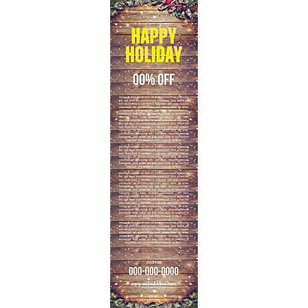 Vertical Banner Template, Wood Winter Holiday