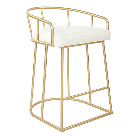 """Ave Six Luna 31 1/2""""H Counter Stool, White/Gold"""