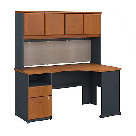 "Bush Business Furniture Office Advantage 60""W Corner Desk With Hutch And 2 Drawer Pedestal, Natural Cherry/Slate, Premium Installation"