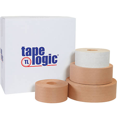 """Tape Logic® Reinforced Water-Activated Packing Tape, #7200, 3"""" Core, 2.8"""" x 125 Yd., White, Case Of 8"""