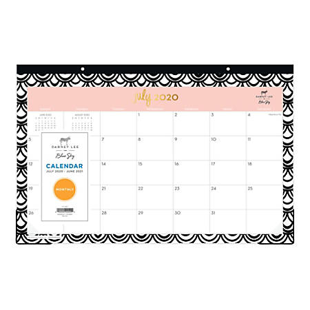 "Blue Sky™ Dabney Lee Seashells Monthly Desk Pad Calendar, 17"" x 11"", July 2020 To June 2021, 118903"