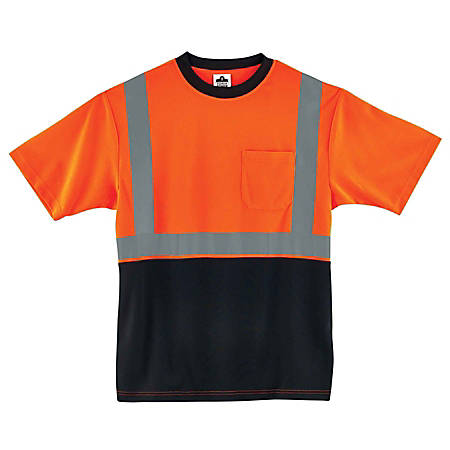 Ergodyne GloWear 8289BK Type-R Class 2 T-Shirt, X-Large, Black/Orange