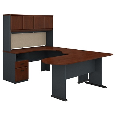 Bush Business Furniture Office Advantage U Shaped Desk And Hutch With  Peninsula And Storage, Hansen Cherry, Standard Delivery Item # 598937