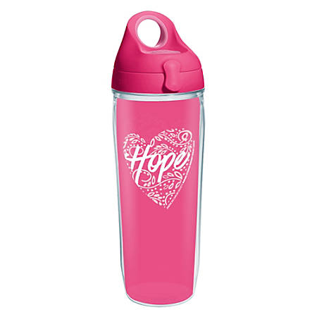 Tervis American Cancer Society Hope Heart Water Bottled With Lid, 24 Oz, Clear