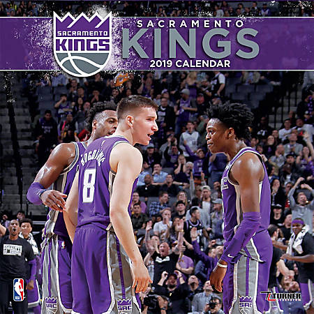 "Turner Sports Monthly Wall Calendar, 12"" x 12"", Sacramento Kings, January to December 2019"