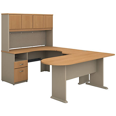 Bush Business Furniture Office Advantage U Shaped Desk And Hutch With Peninsula And Storage, Light Oak/Sage, Premium Installation
