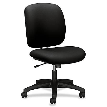 "HON ComforTask Chair, Black Fabric - Polymer Black, Olefin Seat - Polymer Black, Olefin Back - 5-star Base - 20"" Seat Width x 18"" Seat Depth - 23"" Width x 27.8"" Depth x 39.8"" Height"