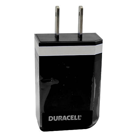 Duracell® USB 100-240 Volt AC Wall Charger, Black