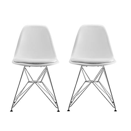 DHP Mid-Century Modern Molded Chairs, White/Silver, Set Of 2