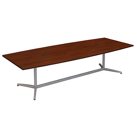 "Bush Business Furniture 120""W x 48""D Boat Shaped Conference Table with Metal Base, Hansen Cherry, Standard Delivery"