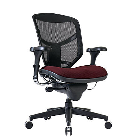 WorkPro® Quantum 9000 Series Ergonomic Mid-Back Mesh/Fabric Chair, Black/Burgundy