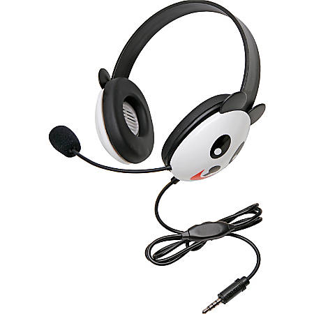 Califone Stereo Headset Panda With Mic 3.5Mm Plug - Stereo - Mini-phone - Wired - 32 Ohm - 20 Hz - 20 kHz - Over-the-head - Binaural - Supra-aural - 5.50 ft Cable - Electret Microphone - Black, White