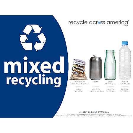 """Recycle Across America Mixed Standardized Recycling Labels, MXD-8511, 8 1/2"""" x 11"""", Navy Blue"""