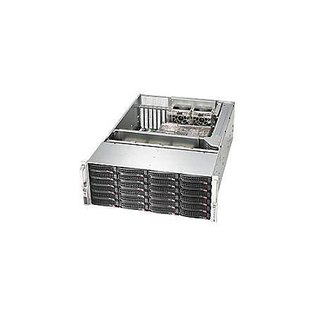 """Supermicro SuperChassis SC846BE16-R920B System Cabinet - Rack-mountable - Black - 4U - 24 x Bay - 5 x Fan(s) Installed - 2 x 920 W - ATX, EATX Motherboard Supported - 75 lb - 5 x Fan(s) Supported - 24 x External 3.5"""" Bay - 7x Slot(s)"""