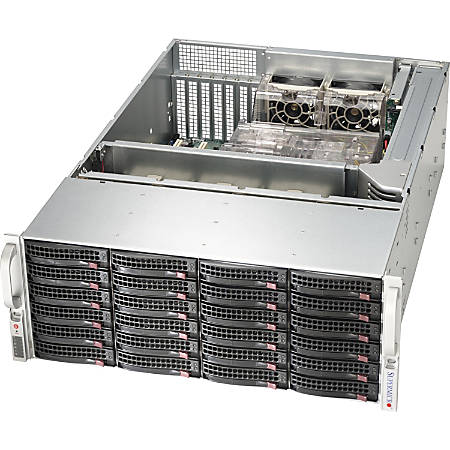 """Supermicro SuperChassis SC846BE26-R920B System Cabinet - Rack-mountable - Black - 4U - 24 x Bay - 5 x Fan(s) Installed - 2 x 920 W - ATX, EATX Motherboard Supported - 75 lb - 5 x Fan(s) Supported - 24 x External 3.5"""" Bay - 7x Slot(s)"""