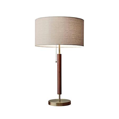 "Adesso® Hamilton Table Lamp, 26 1/4""H, Natural Shade/Antique Brass Base"