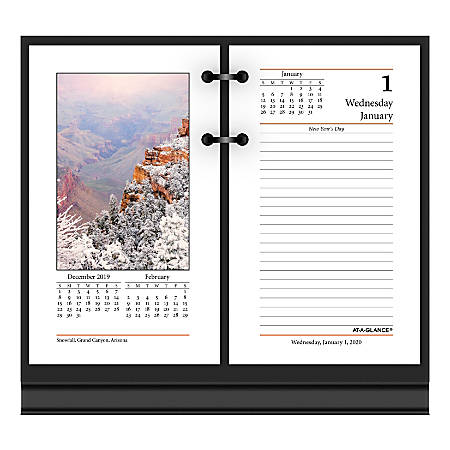 """AT-A-GLANCE® Photographic Daily Loose-Leaf Desk Calendar Refills, 3-1/2"""" x 6"""", January To December 2020, E41750"""