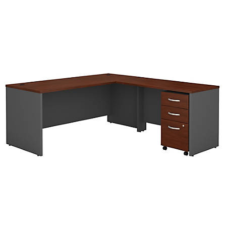 "Bush Business Furniture Components L Shaped Desk, 72""W, Hansen Cherry/Graphite Gray, Premium Installation"