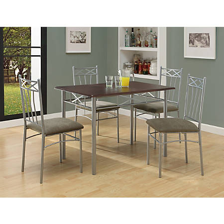 Monarch Specialties 5 Piece Dining Set Rectangular Cappuccino Silver Item 600002