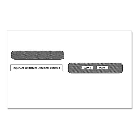 "ComplyRight™ Double-Window Envelopes For W-2 Forms 5205, 5205A And 5209, 4-Up Box Style, Moisture Seal, 5 5/8"" x 9"", Pack Of 100 Envelopes"
