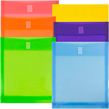 "JAM Paper® Open-End Plastic Envelopes, 9-3/4"" x 11-3/4"", Assorted Colors, Pack Of 6 Envelopes"