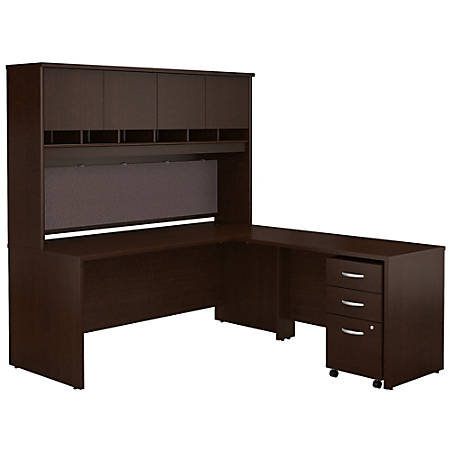 "Bush Business Furniture Components 72""W L Shaped Desk with Hutch and 3 Drawer Mobile File Cabinet, Mocha Cherry, Standard Delivery"