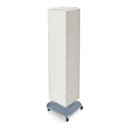 "Azar Displays 4-Sided Pegboard Tower Floor Display With Wheels, 68"" x 18"", White/Silver"