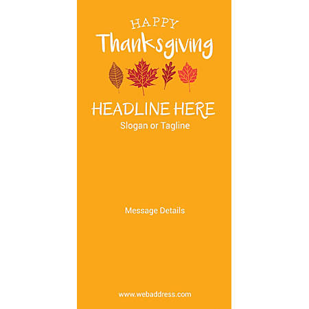 Custom Vertical Banner, Autumn Leaves Orange