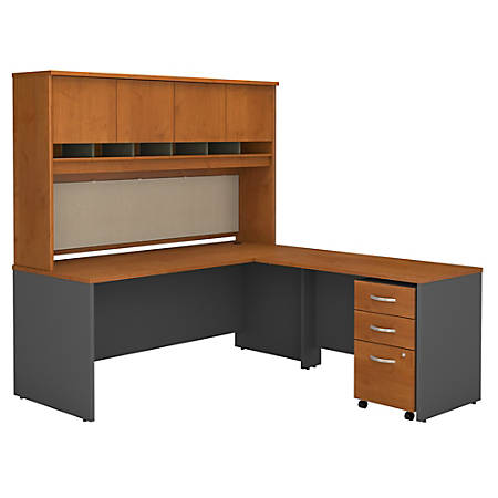 "Bush Business Furniture Components L Shaped Desk, 72""W, Natural Cherry, Standard Delivery"