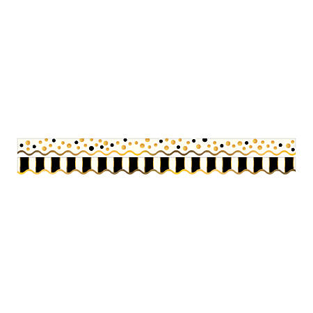 "Barker Creek Scalloped-Edge Double-Sided Borders, 2 1/4"" x 36"", Gold Bars, Pack Of 13"