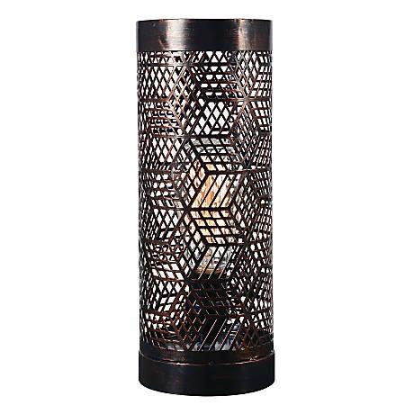 "Kenroy Home Rubik Uplight Accent Lamp, 12""H, Copper Bronze"