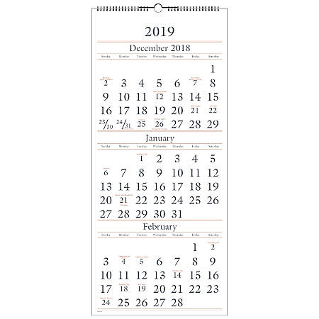 """AT-A-GLANCE® 3-Month/14-Month Wall Calendar, 12"""" x 27"""", December 2018 to January 2020"""