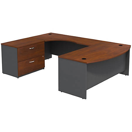 Bush Business Furniture Components Bow Front U Shaped Desk With 2 Drawer Lateral File Cabinet, Hansen Cherry/Graphite Gray, Premium Installation