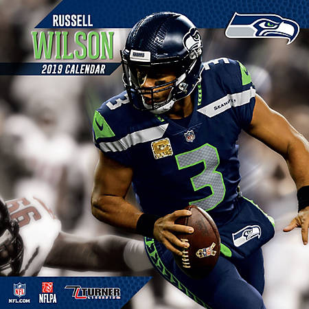 "Turner Sports Monthly Wall Calendar, 12"" x 12"", Seattle Seahawks Russell Wilson, January to December 2019"