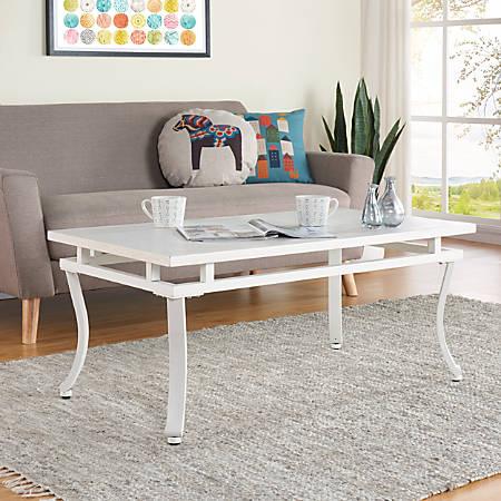 Southern Enterprises Edisto Cocktail Table, Rectangular, Clear/Antique White